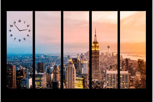 Модульная картина с часами Город